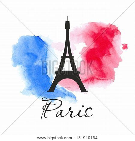 Watercolor design with Paris icon. French flag