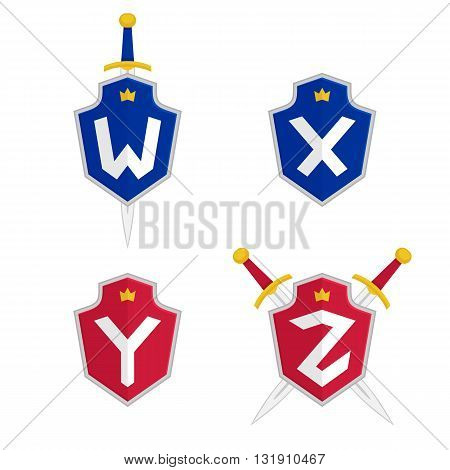 Letter W, X, Y, Z vector logo templates. Letter logo with shield and sword. Luxury logo, safety logo.