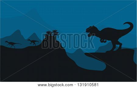 Silhouette of Big Allosaurus at the night
