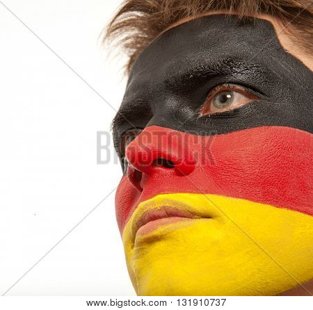 German fans at the stadium. Football, soccer fan. White background