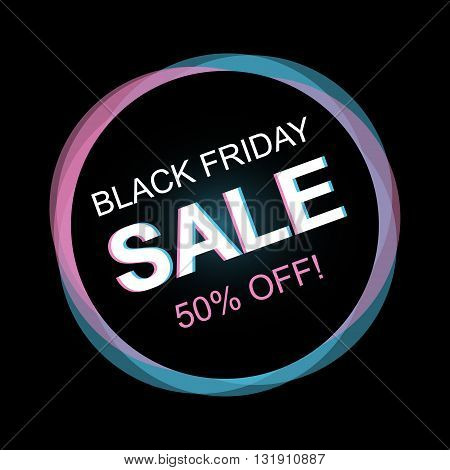 Colorful abstract black friday sale tag, label, banner on black background.  Black friday vector illustration.