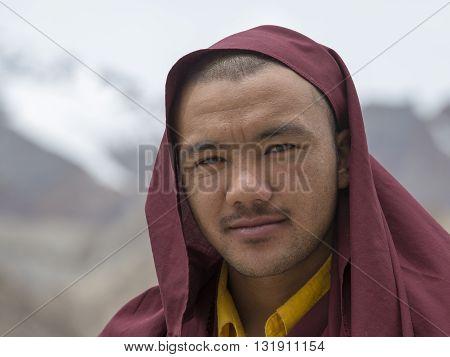 LAMAYURU INDIA - JUNE 15 2015: Unidentified buddhist monk during Tsam mystery in time of Yuru Kabgyat festival at Lamayuru Gompa Ladakh North India