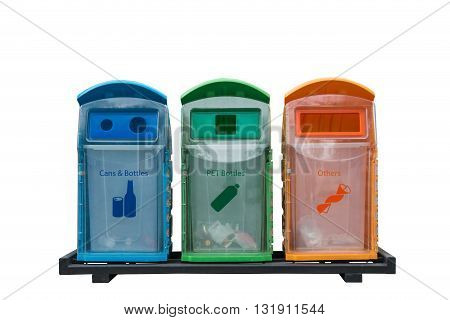 Recycle bins different colored with isolated on white background - Recycle bins different kinds waste gathered separately in waste containers for recycling of plastic saves