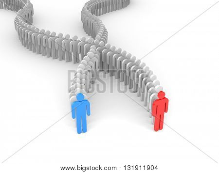 Different people - leaders. 3d illustration