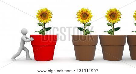 Man pushing a flowerpot - different metaphor. 3d illustration