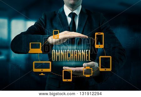 The concept of Omnichannel between devices to improve the performance of the company. Innovative solutions in business.