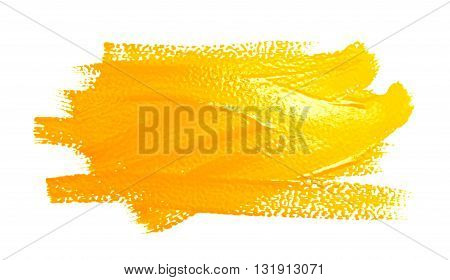 Yellow strokes of the paint brush isolated on a white