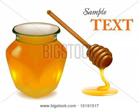 Background with honey and wood stick.