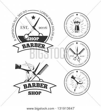Vintage barber shop vector logo set. Barbershop labels or barber shop emblems with comb and scissors, hair dryer and shaving brush