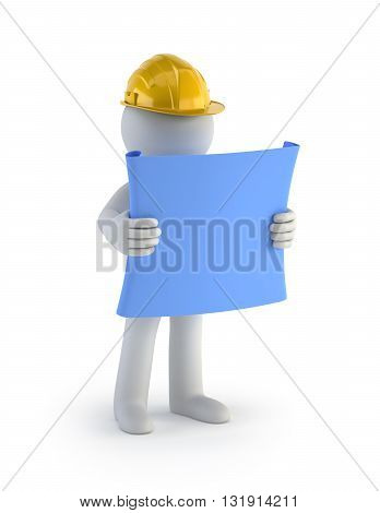 3D Small People - Builder with the Plan Isolated white background