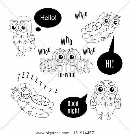Set owl bubbles vector isolated on white background.