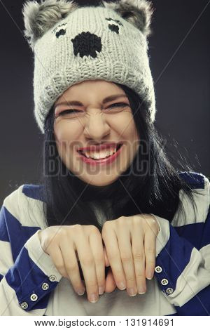 Portrait of young funny woman