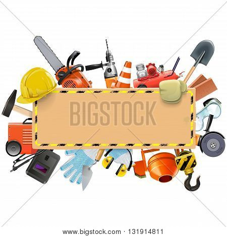 Vector Construction Board with Tools isolated on white background