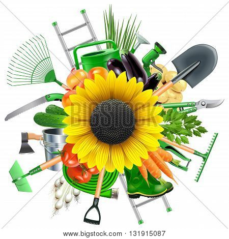 Vector Garden Accessories with Sunflower isolated on white background