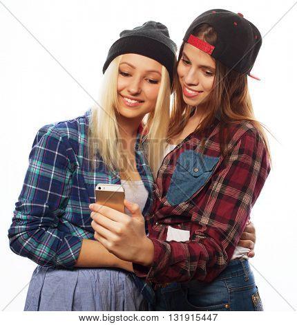 Pretty hipster girls taking selfie.