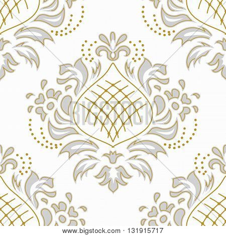 Luxury damascus seamless pattern of floral ornament wallpaper background in vintage style