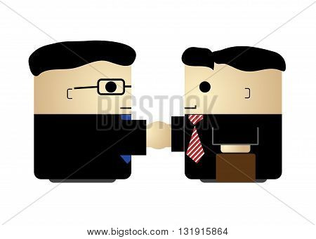 Two cute cartoon businessmen handshaking simple isolated vector illustration. Agreement meeting congratulation partnership
