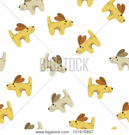 Lot of funny cute yellow brown baby dog puppy spaniel seamless pattern background for children. Editable vector cartoon illustration isolated on white