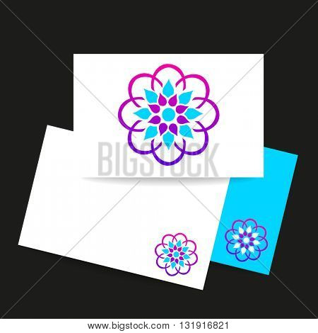 Arabic logo template. Islamic logo. Arabic flower sign. Vector ornamental symbol. Islamic style design identity presentation template with logo.