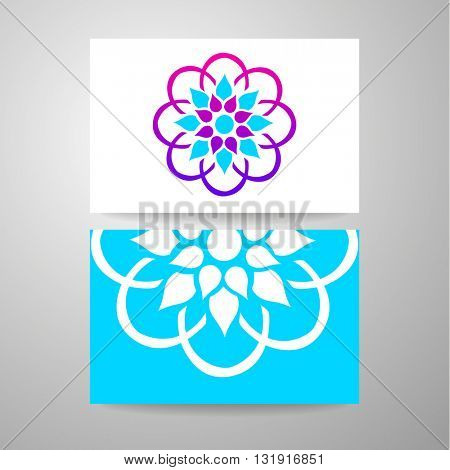 Arabic logo template. Islamic logo. Arabic flower sign. Vector ornamental symbol. Islamic style design card template with logo.