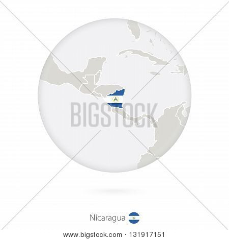Map Of Nicaragua And National Flag In A Circle.
