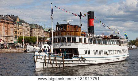 STOCKHOLM, SWEDEN - MAY 15, 2012: Vintage steamship Gustafsberg VII in waters of Stockholm