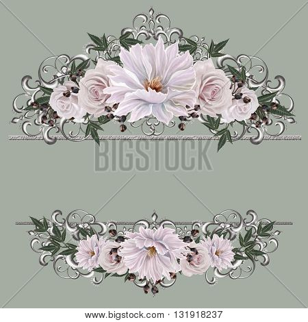 Bouquet colorful roses in a gold frame.Old style. Pastel shades. Floral background.