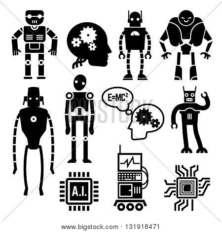 Robots and cyborgs, androids and artificial intelligence vector icons. Machine cyborgs with artificial intelligence and toy androids with ai