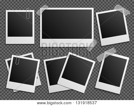 Retro photo vector set. Polaroid frames for family album. Empty vintage photography card sets, vector illustration