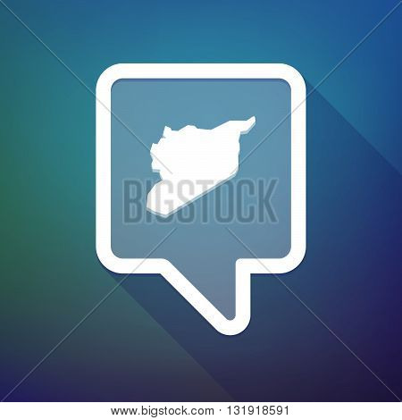 Long Shadow Tooltip Icon On A Gradient Background  With  The Map Of Syria