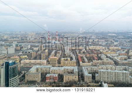 Panorama of the City of Moscow from the bird's-eye view.
