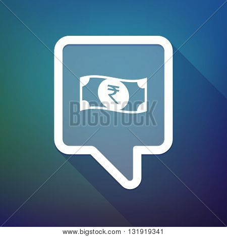 Long Shadow Tooltip Icon On A Gradient Background  With  A Rupee Bank Note Icon