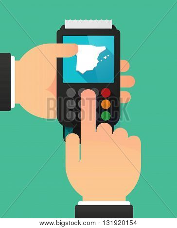 Person Hands Using A Dataphone With  The Map Of  Spain