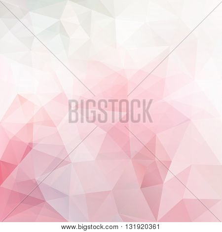 Abstract vector triangle background in soft pink colors, polygonal pattern