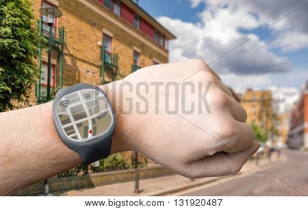 Hand With Smart Watch And Gps Navigation System.