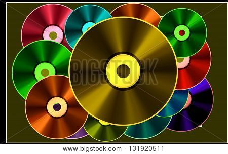 Gold disk. Best Song.  The picture shows the winner of the best songs - the golden disk. This picture can be used differently.