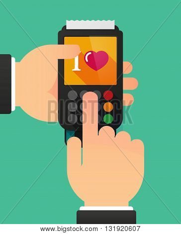 Person Hands Using A Dataphone With  An