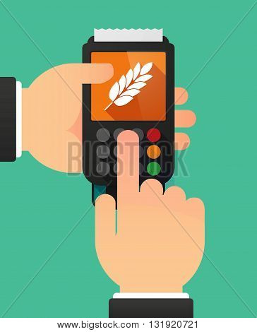 Person Hands Using A Dataphone With  A Wheat Plant Icon