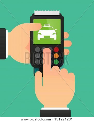 Person Hands Using A Dataphone With  A Taxi Icon
