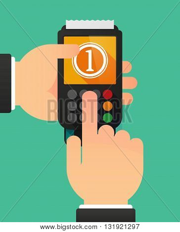 Person Hands Using A Dataphone With  A Coin Icon