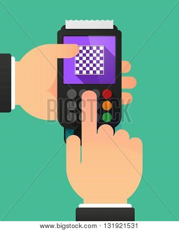 Person Hands Using A Dataphone With  A Chess Board
