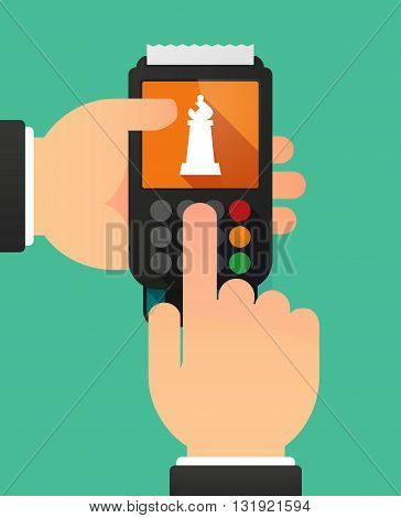 Person Hands Using A Dataphone With A  Rook   Chess Figure