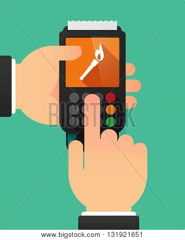 Person Hands Using A Dataphone With  A Torch Icon