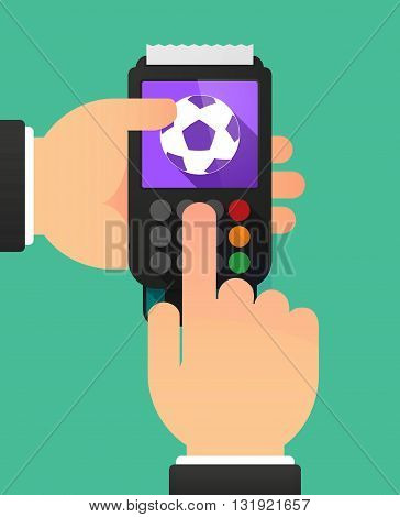 Person Hands Using A Dataphone With  A Soccer Ball