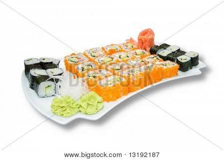Sushi plate isolated on white