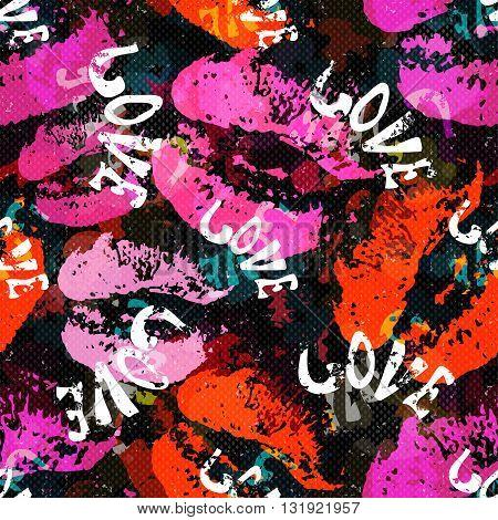 Graffiti Valentine Day on a black background seamless background texture grunge