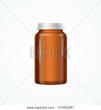 Medical Glass Brown Bottle on White Background. Vector illustration