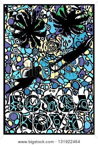 Vector Bossa Nova music poster. Engraved bright poster of Bossa Nova music