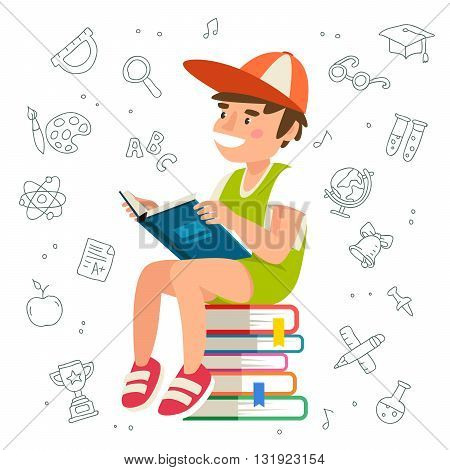 Boy reading a book sitting on a pile of book. The concept of school education. Vector illustration on a white background with school icons.