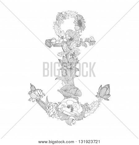 anchor of flowers. Vector black and white linear illustration